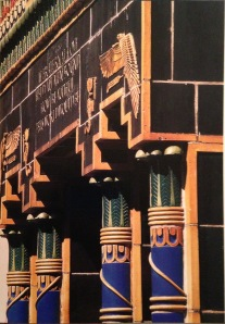 Ancient Egyptian-inspired facade of the Pythian Temple (1927). Photo by Robert Berenholtz from New York Deco p. 128-9.