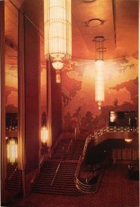 The Art Deco lobby of Radio City Music Hall (1932). Photo by Robert Berenholtz from New York Deco p. 31)