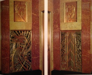 Elevator grilles by Rene Chambellan from the Chanin Building (1929). Photo by Richard Berenholtz from New York Deco p. 55.
