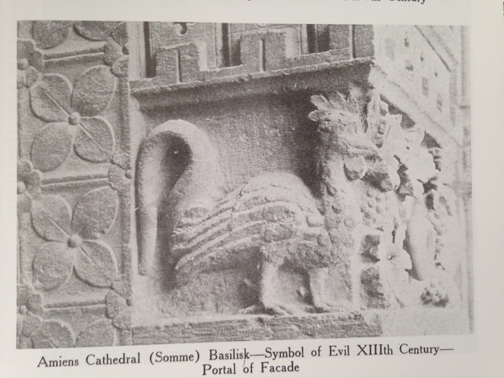 Basilisk carving on Amiens Cathedral façade. Bridaham, Lester Burbank. The Gargoyle Book: 572 Examples from Gothic Architecture. Mineola, NY: Dover Publications, 2006. Page 9.