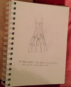 My sketch. Don't mistake this for actual drawing skill. I traced a lot of it from the back of the pattern envelope.