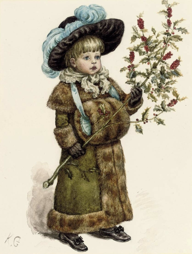 kate_greenaway_a_young_girl_dressed_up_for_christmas