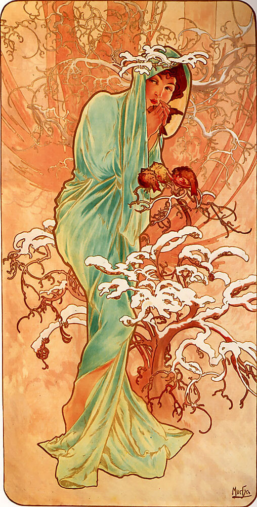 Winter by Alfons Mucha