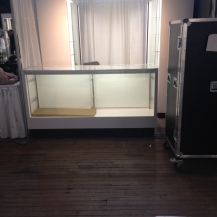 An empty lighted display case.