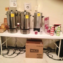 The exhibitors' room serves coffee and donuts. There was a nice lunch on Wednesday, too.