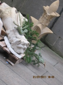 A fallen grotesque from Sainte-Chapelle in Paris, France. Photo by A Scholarly Skater.