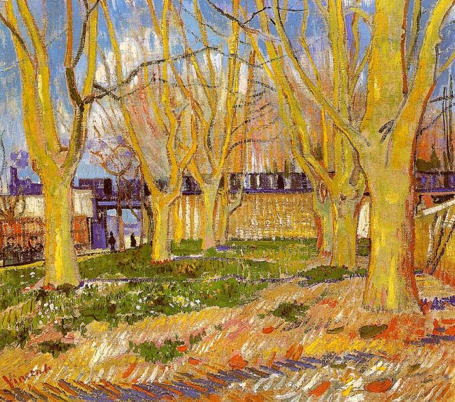 Avenue of Plane Trees Near Arles Station by Van Gogh