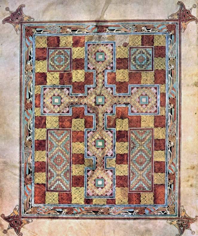 Lindisfarne Gospels carpet page horror vacui