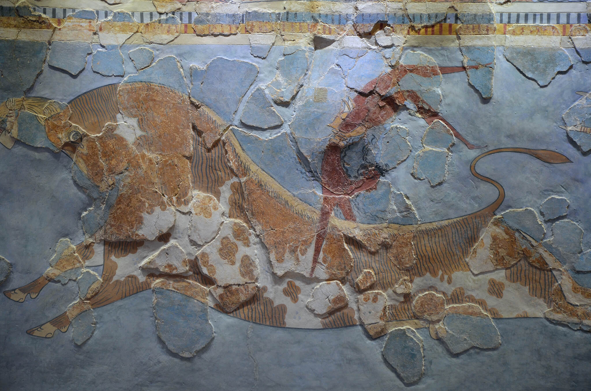 Minoan Bull Leaping fresco close-up