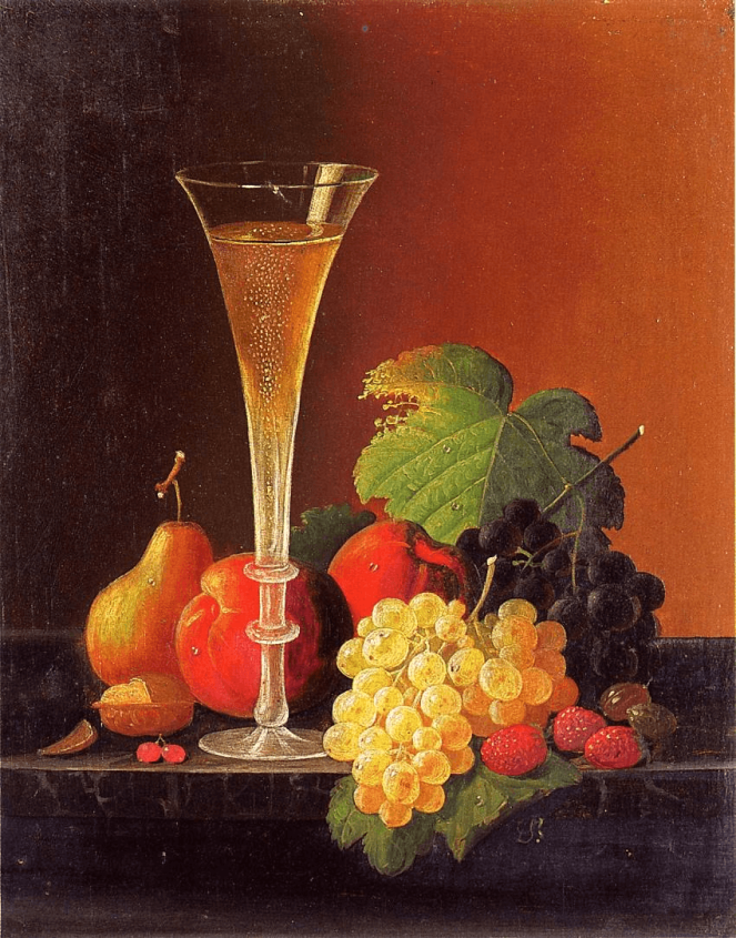 Still Life Fruit and a Glass of Champagne on a Tabletop by Severin Roesen
