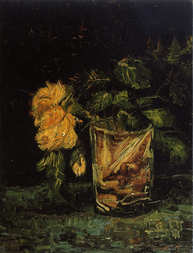 Still life Glass with Roses by Vincent Van Gogh