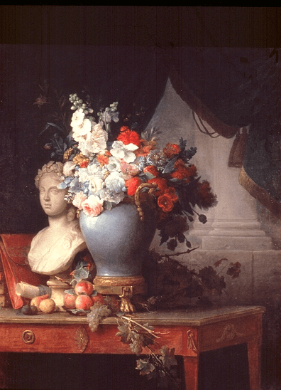 Vase of Flowers with a Bust of Flora by Anne Vallayer-Coster