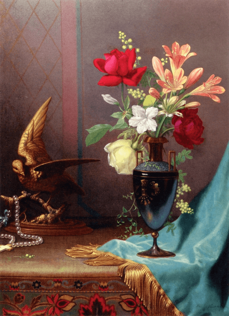 Still Life Vase of Mixed Flowers with a Dove by Martin Johnson Heade