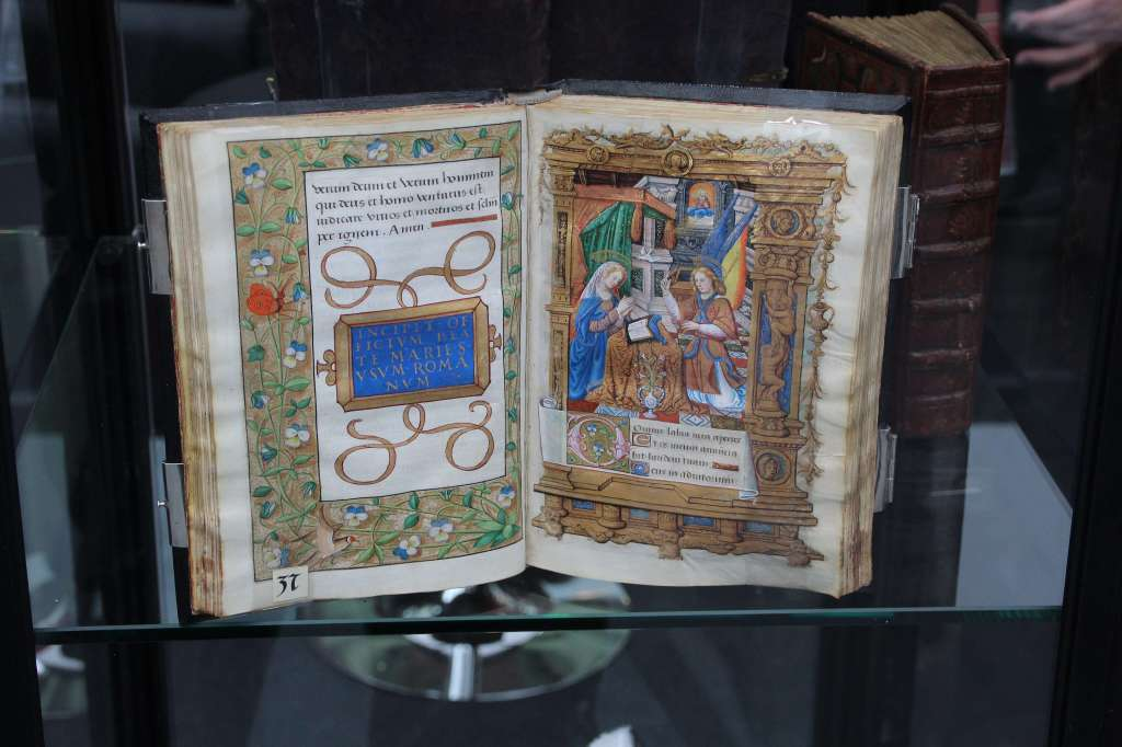 An illuminated manuscript on display