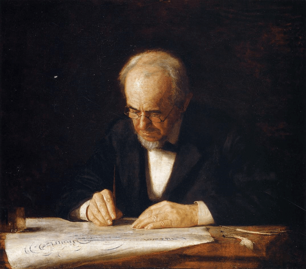 The Writing Master by Thomas Eakins art history exams