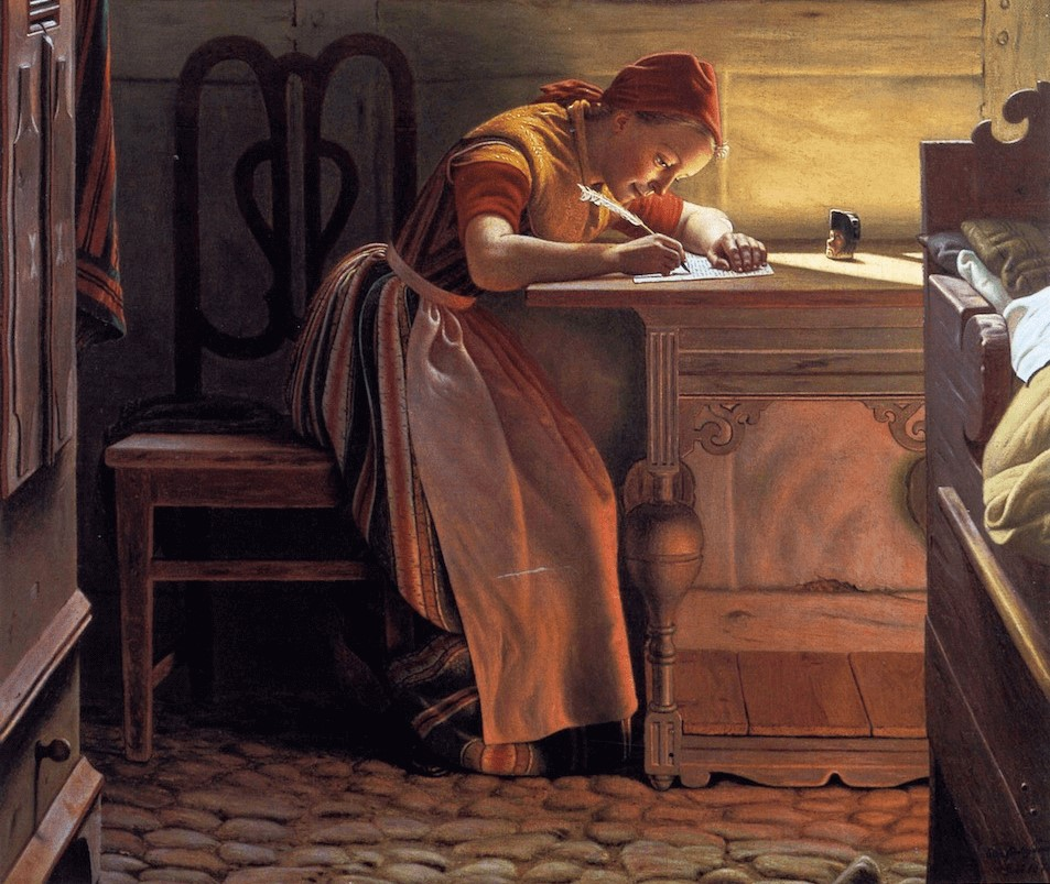 Young Girl Writing by Christen Dalsgaard (detail) art history exams