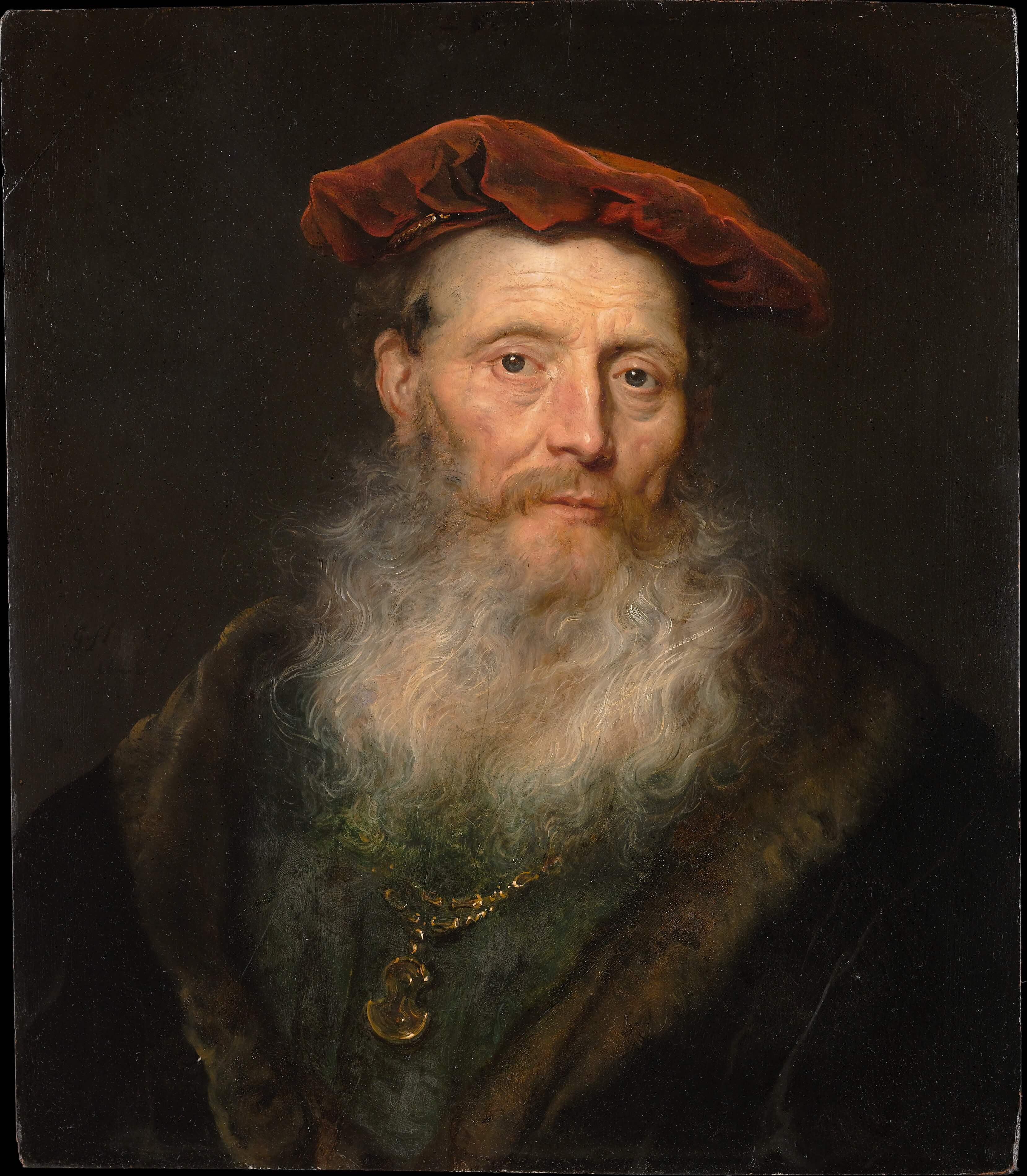 Bearded Man with a Velvet Cap by Govert Flinck Dutch Golden Age