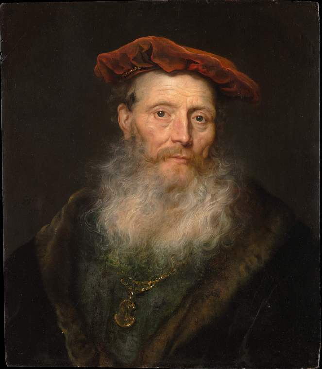 Bearded Man with a Velvet Cap by Govert Flinck Dutch Golden Age
