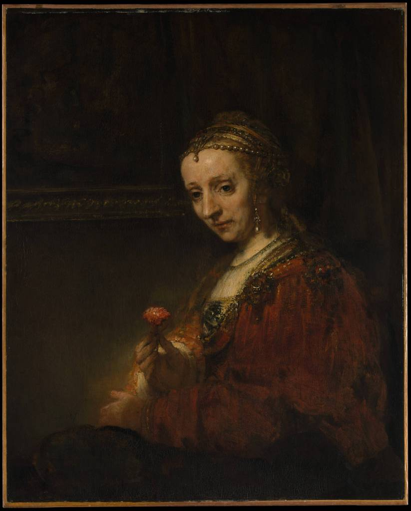 Woman with a Pink by Rembrandt Dutch Golden Age
