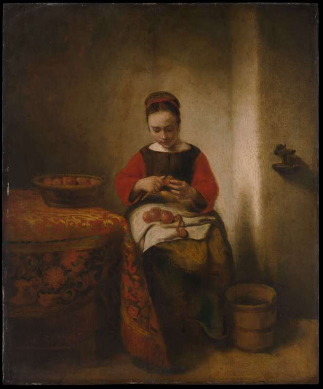Young Woman Peeling Apples by Nicolaes Maes Dutch Golden Age