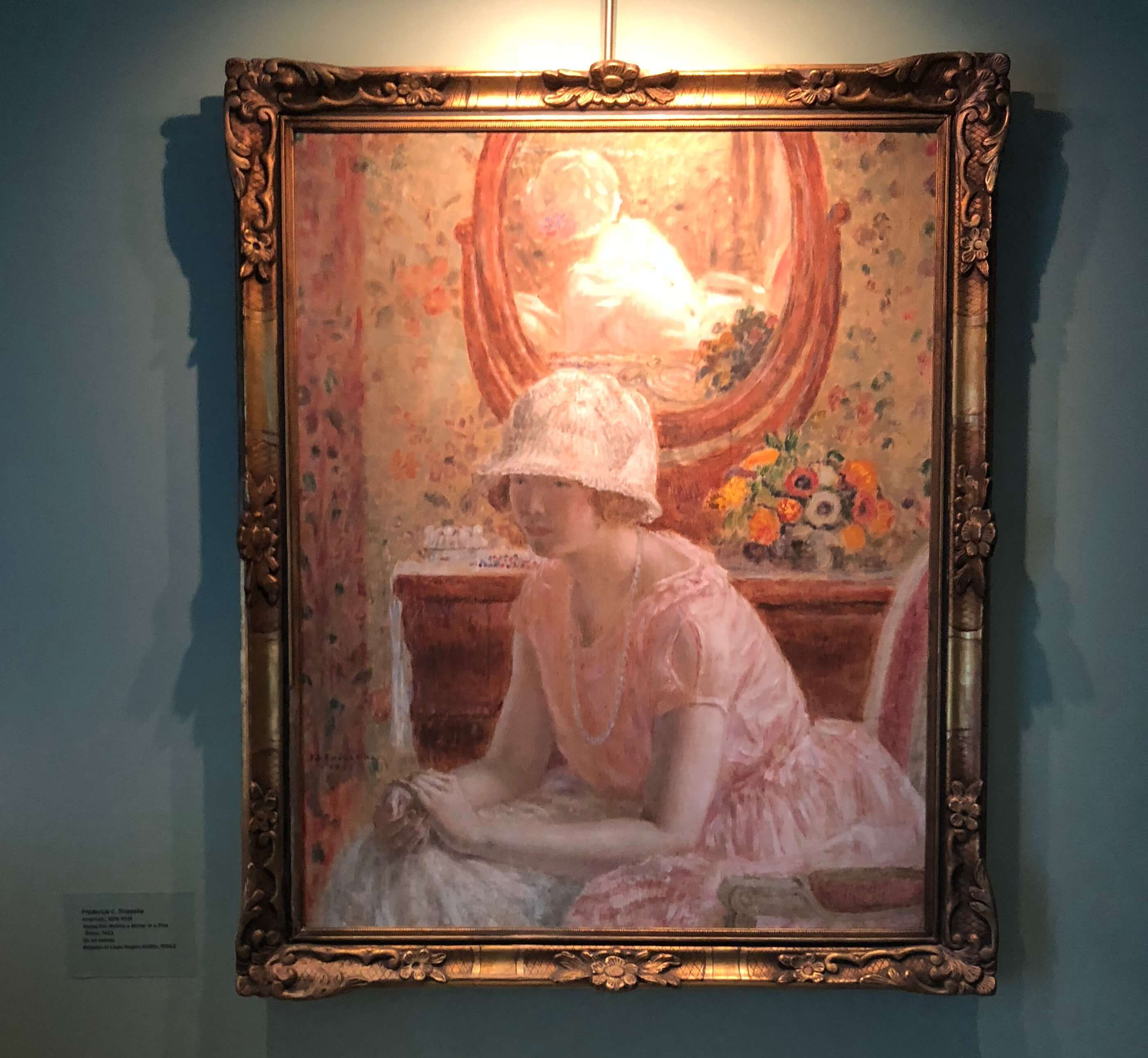 Frederick C. Frieseke, Young Girl Before a Mirror In a Pink Dress