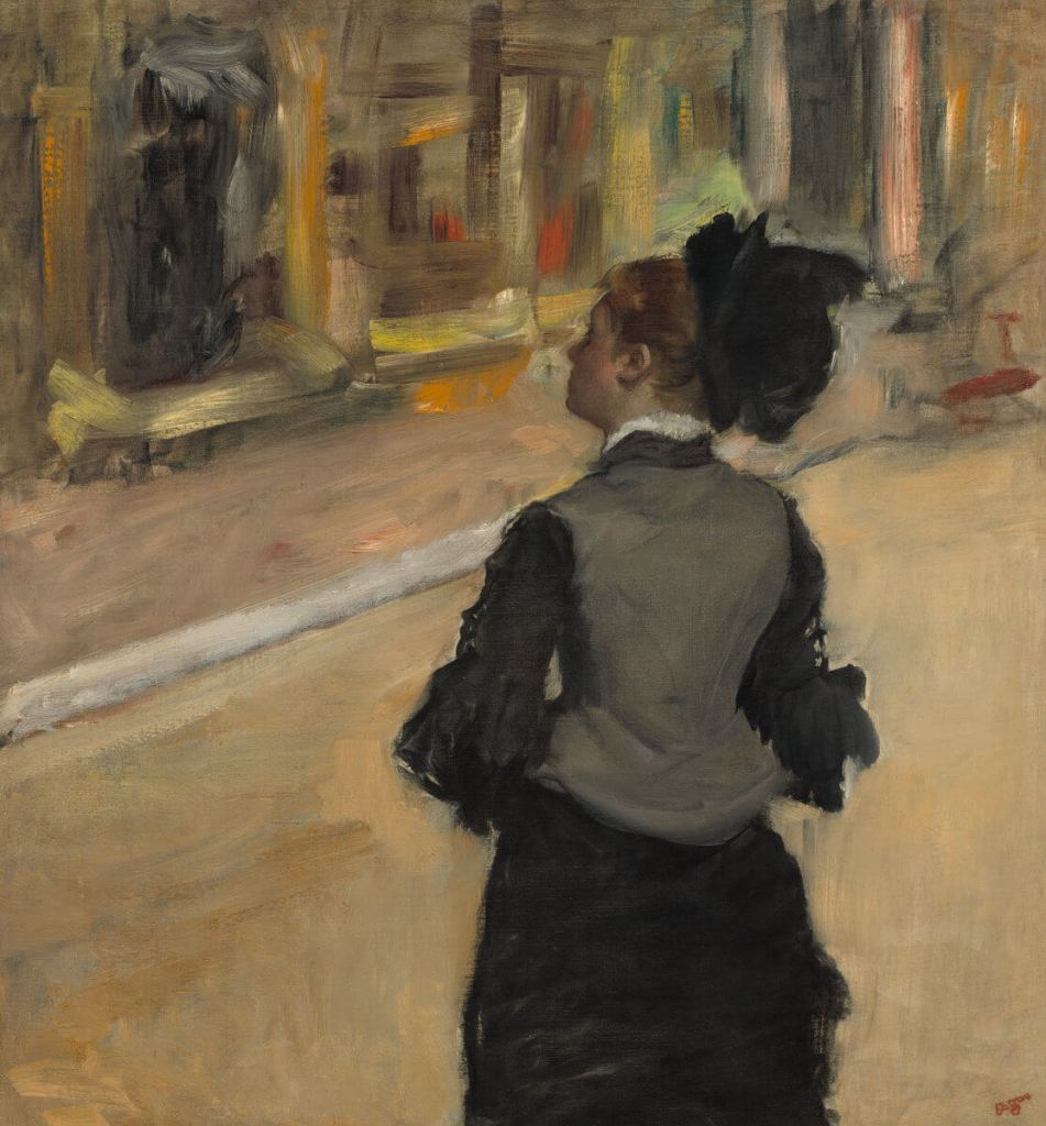A Visit to the Museum (Woman Viewed from Behind) by Edgar Degas.