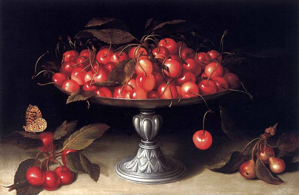 Giovanna Garzoni, Cherries in a Silver Compote with Crab Apples on a Stone Ledge and a Fritillary Butterfly.