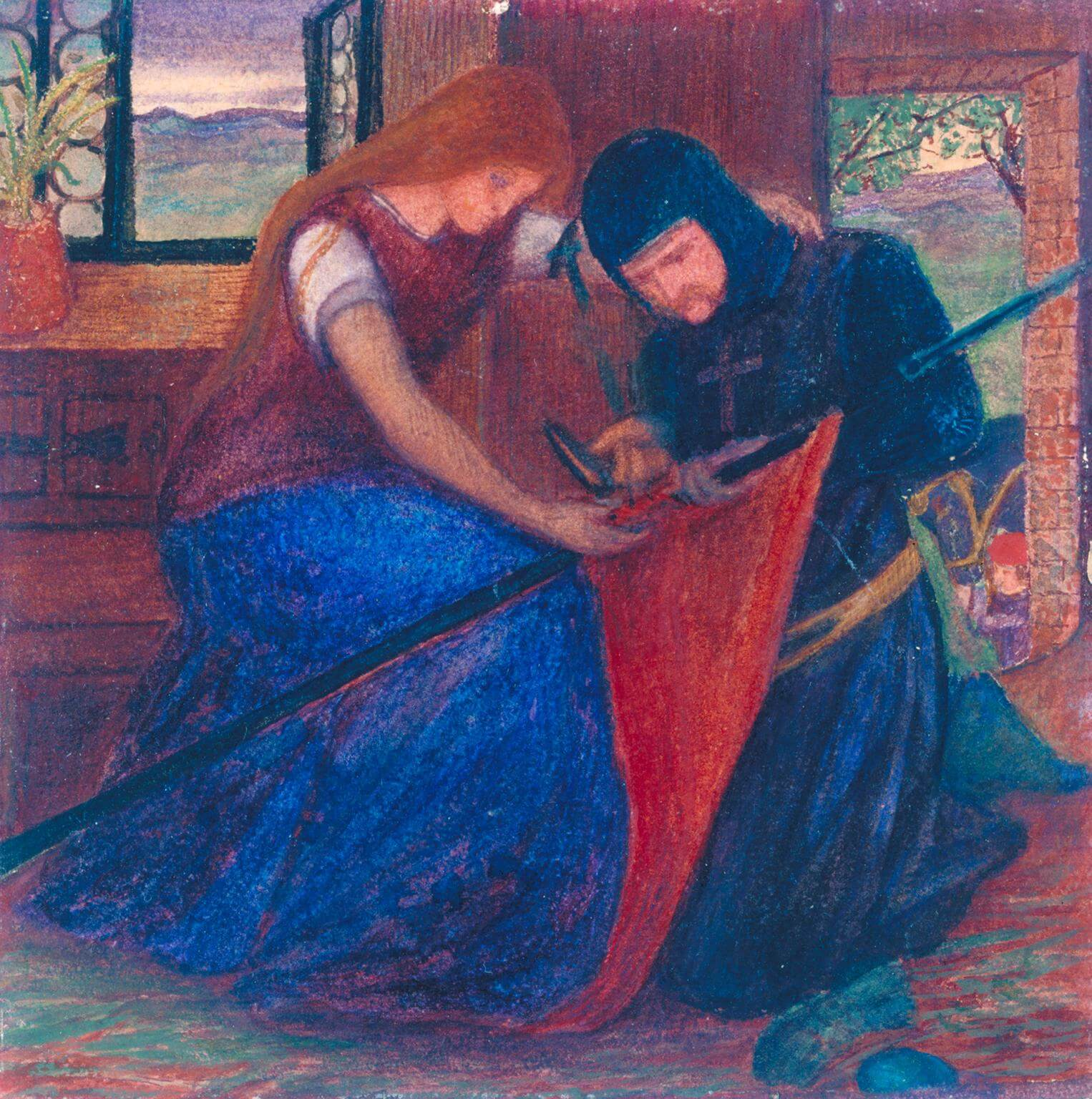 Lady Affixing Pennant to a Knight's Spear by Elizabeth Siddal