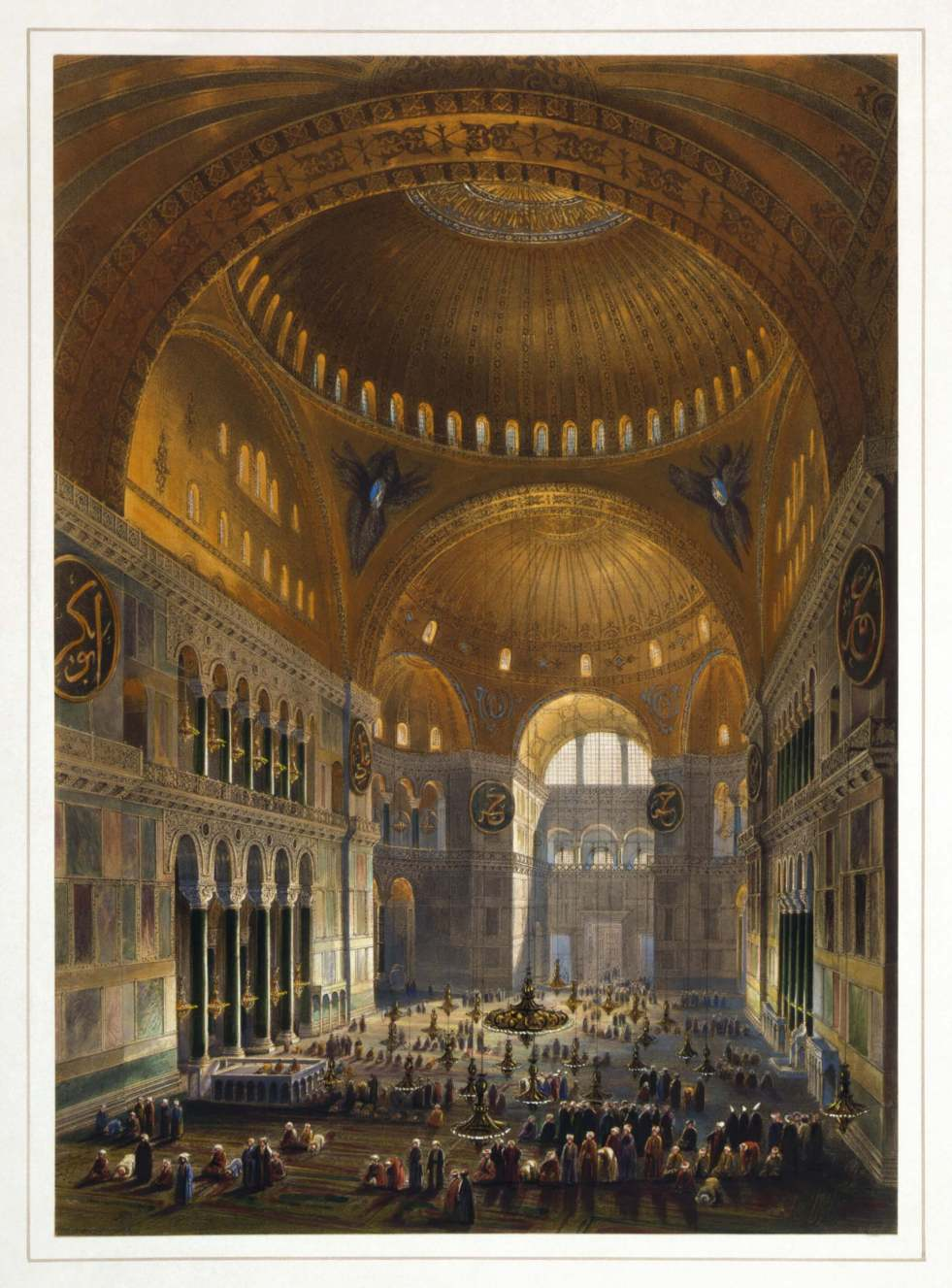 Hagia Sophia as a mosque - 1852 illustration