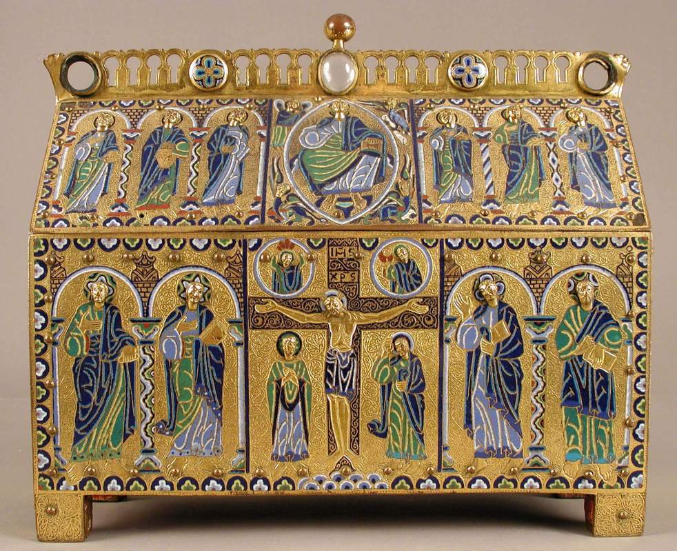 Chasse with the Crucifixion and Christ in Majesty enamel